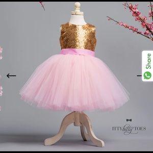 Itty Bitty Toes PRINCESS KATE DRESS (GOLD & PINK)